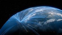 Earth In Space. Blue Lines Connect Phoenix, USA With Cities Across The World. Global Travel Or Networking Concept.