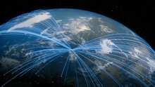 Earth In Space. Blue Lines Connect Moscow, Russia With Cities Across The World. Worldwide Travel Or Networking Concept.