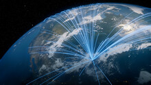 Earth In Space. Blue Lines Connect Orlando, USA With Cities Across The World. International Travel Or Networking Concept.