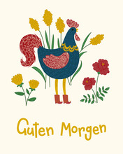 """""""Guten Morgen"""" Hand Drawn Vector Lettering In German, In English Means """"Good Morning"""". Rooster With Flowers Vector Illustration. Deutsch Inspirational Quote Or Saying. Positive Lifestyle"""