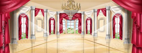 Fotografia Palace interior vector background, castle hall, classic ballroom illustration, arch window, marble column