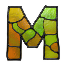 3d Render Of Stained Glass Alphabet. Multicolor Mosaic Capital Letter Isolated On White Background.
