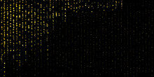 Gold Dust Falling Flying Sparkling Confetti Dots Of Vertical Lines. Shimmering Glow Glittering Gold Glitter Particles Effect. Glitter Rain, Golden Star Dust, Bright Yellow Sparkles On Black. Vector