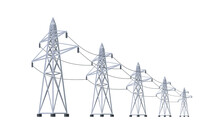 High Voltage Electricity Distribution Grid Pylons. Flat Vector Illustration Of Utility Electric Transmission Network Providing Energy Supply. Electrical Power Lines Isolated On White Background.