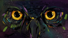 Mysterious Glowing Owl Eyes On Dark Sky Full Of Stars With Nebula Colors.