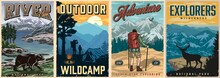 Summer Recreation Colorful Vintage Posters