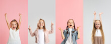 Art Collage Made Of Portraits Of Little And Happy Girls Isolated On Multicolored Studio Background. Human Emotions, Facial Expression Concept