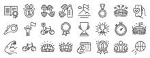 Set Of Sports Icons, Such As Fitness Calendar, Bicycle, Leadership Icons. Winner, Bicycle Parking, Mountain Flag Signs. Dumbbell, Arena Stadium, Sports Arena. Cardio Training, Diploma. Vector
