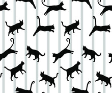 Abstract Hand Drawing Vertical Stripes With Jumping Cats Seamless Vector Pattern Isolated Background