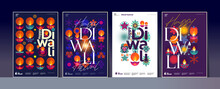 Happy Diwali. Deepavali Or Dipavali. Indian Festival Of Lights. Set Of Vector Illustrations And Lettering. Holiday Background For Branding, Card, Banner, Cover, Flyer Or Poster.