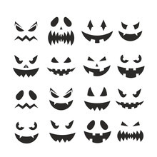 Halloween Pumpkin Jack-o-lantern Faces Vector Illustration. October Party Scary Black Clipart Collection, Spooky Pumpkins Facial Expression, Smiling Ghost Face On Halloween Party Isolated On White