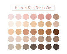 Human Skin Tones Set Vector. Face And Body Complexion Palette Illustration.