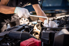 Auto Mechanic Expertise In Auto Repair Services Car Maintenance And Garage Service Concepts.