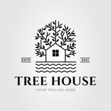 Natural Tree House On The Lakeside Logo Vector Illustration Design