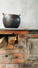 Wood Stove With Clay Pot Is Well Known In The Colombian Countryside For Food Preparation.