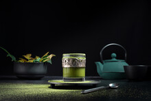 Glass With Green Matcha Tea