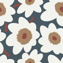 Seamless Simple Cute Pattern Of Large White Flowers On Navy Background.Endless Floral Ornament With Beautiful Blossoms.Colourful Backdrop For Fabric,textile,linen,covers,wrapping,decoupage.Vector
