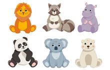 Cute Wild Animals Set. Safari Jungle Animals. Design Elements For Printing. Lion, Raccoon, Hippo, Panda, Koala, Polar Bear. Cartoon Modern Flat Vector Collection Isolated On White Background