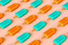 Pattern Of Ice Lolly On Pink Background