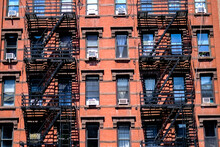 Fire Escapes On A Building In New York City Manhattan