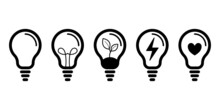 Żarówka - Zestaw Ikon Do Projektów. Kontury żarówek. Symbol Idei, Rozwiązania, Pomysły, Radzenia Sobie Z Problemem. Koncept Lampy, światła.