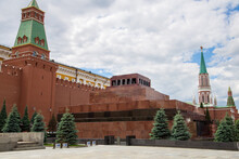 Lenin's Mausoleum At Red Square, Lenin's Tomb, Resting Place Of Soviet Leader Vladimir Lenin, His Preserved Body Has Been On Public Display There