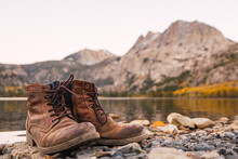 Pair Of Old Boots In A Lake