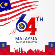 Happy Malaysia Independence Day 64th Simple Logo Type Text, Postage Or Postcard With Flag National Background Vector Illustration Symbol