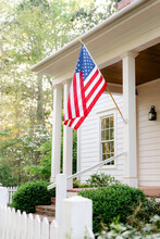 Southern Front Porch With American Flag