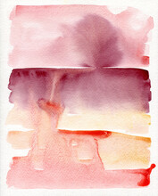 Red Palette Watercolor Abstract Art