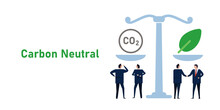 Balancing Carbon Neutral CO2 Gas Emission Offset Leader Make Deal Agreement Business Neutralize Pollution Impact