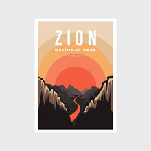 Zion National Park Poster Vector Illustration