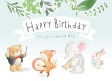 Happy Birthday Slogan With Cute Animals Music Parade Illustration
