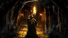 A Knight In Plate Armor, A Helmet With A Sword And A Shield Holds A Burning Torch In His Hand, Standing At The Entrance To A Sinister Dungeon , Steps Lead To The Dark Depths Of The Cave. 2d Art