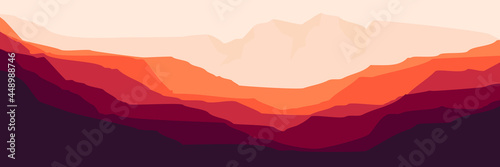 Fotomural flat design of mountain landscape vector illustration design for wallpaper desig