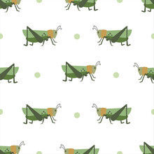 Background Of Grasshoppers Pattern. Seamless Background Of Crickets.