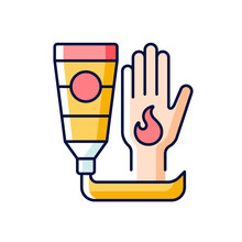 Ointment For Burns RGB Color Icon. Antibacterial Cream. Skin Care Product. Burn Treatment. Applying Aloe Vera. Infection Protection. Isolated Vector Illustration. Simple Filled Line Drawing