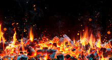 Charcoal For Barbecue Background With Flames