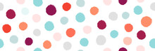 Abstract Colorful Geometric Circles Pattern Seamless On White Background. Trendy Circles Brush Shapes Texture Design. Simple Cute Style Hand Drawn Circles Elements. Suit For Wrapping Paper, Wallpaper