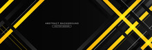 Black And Yellow Abstract Stripes Horizontal Banner Design. Modern Corporate Tech Striped Concept. Trendy Simple Overlapping Diagonal Yellow And Black Geometric Element. Suit For Cover, Poster, Flyer