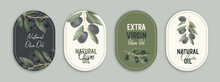 Vector Labels With Watercolor Olive Branch. Emblem Composition With Olives And Typography