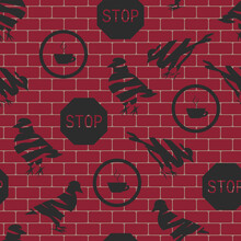 Vector Black Pigeons On A Red Brick Wall Seamless Pattern. Ideal For City Life And Pigeon Lovers. Perfect For Fabric, Wallpaper, Scrapbooking And Stationery.