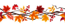 Vector Horizontal Seamless Border With Orange And Brown Autumn Leaves And Rowanberries.