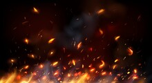 Campfire, Fireplace Flying Sparks, Burning Flame Red Hot Sparks. Realistic Vector Fire With Particles, Embers And Cinder Flying Up. 3d Bonfire Blaze Effect, Glow Shining Flare. Heat Tongues Background