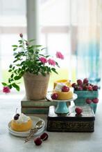 Tart Mini Cakes With Whipped Cream And Cherries