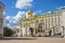 The Annunciation Cathedral In The Kremlin With Golden Domes Shining In The Sun On A Clear Summer Day In Moscow Russia