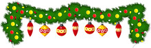 Festive Christmas Garland With Balloons And Glowing Bulbs. Christmas Decorative Decoration On The Fireplace, Doors And Windows.