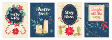 Set Of Christmas New Year Winter Holiday Greeting Cards On Colorful Background. Concept Of Cute Xmas Decoration Postcard Templates For Festive Celebration. Flat Cartoon Vector Illustration