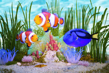 Artistic 3D Illustration Of Tropical Fishes