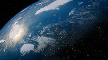 Earth In Space With Views Of Ireland And Europe. Climate Concept.
